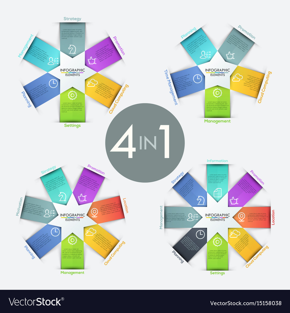 Collection of 4 infographic design templates vector image