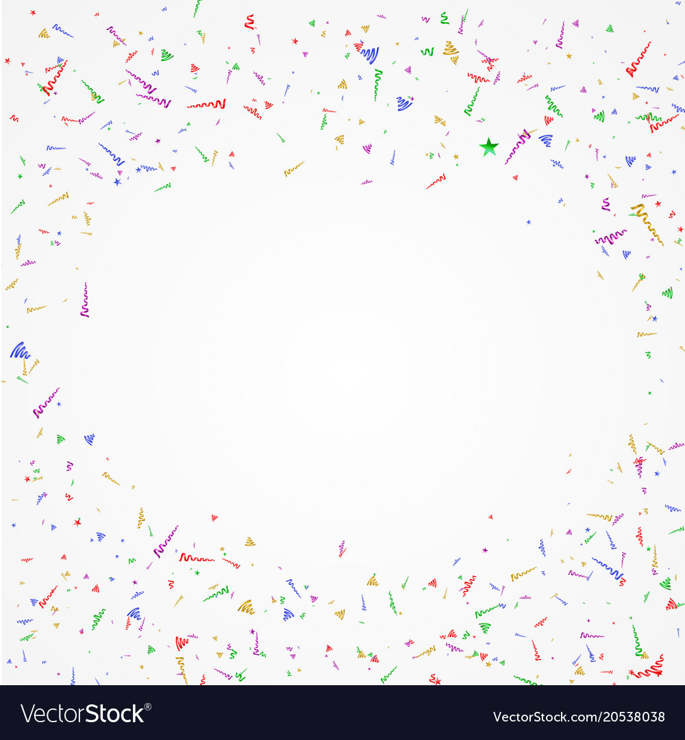 Colorful confetti and streamers holiday background vector image