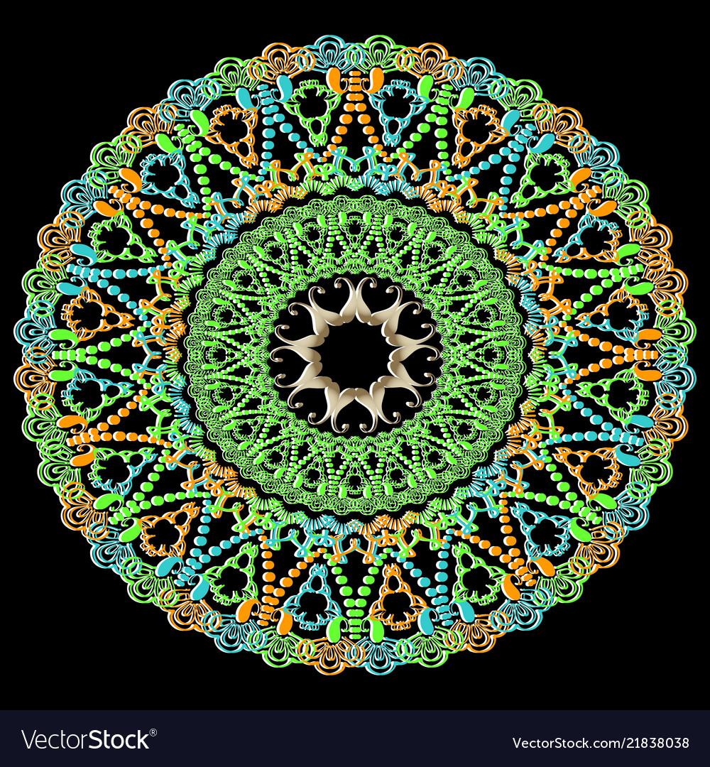 Colorful round lace paisley mandala pattern