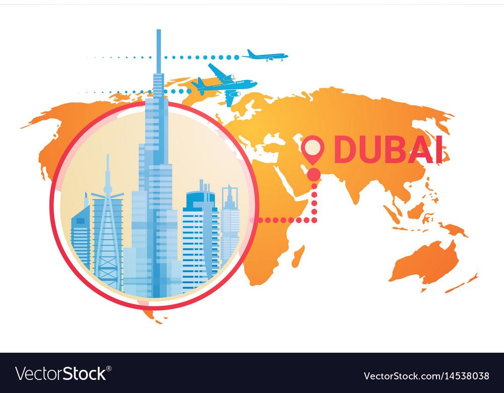 Dubai skyline panorama over world map modern