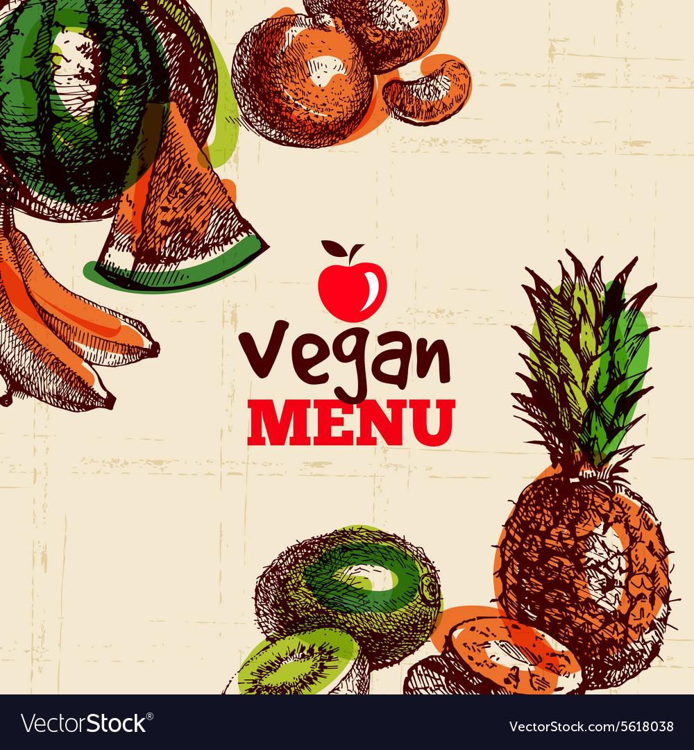 Eco food vegetarian menu background Watercolor