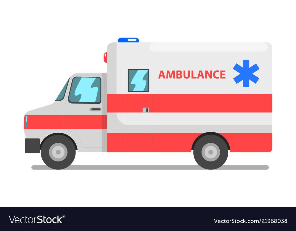 Emergency car red and white ambulance medical