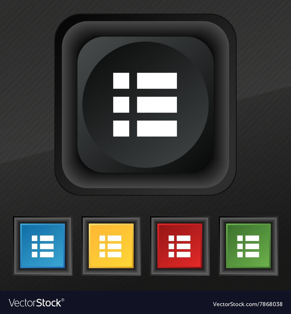 List menu app icon symbol Set of five colorful
