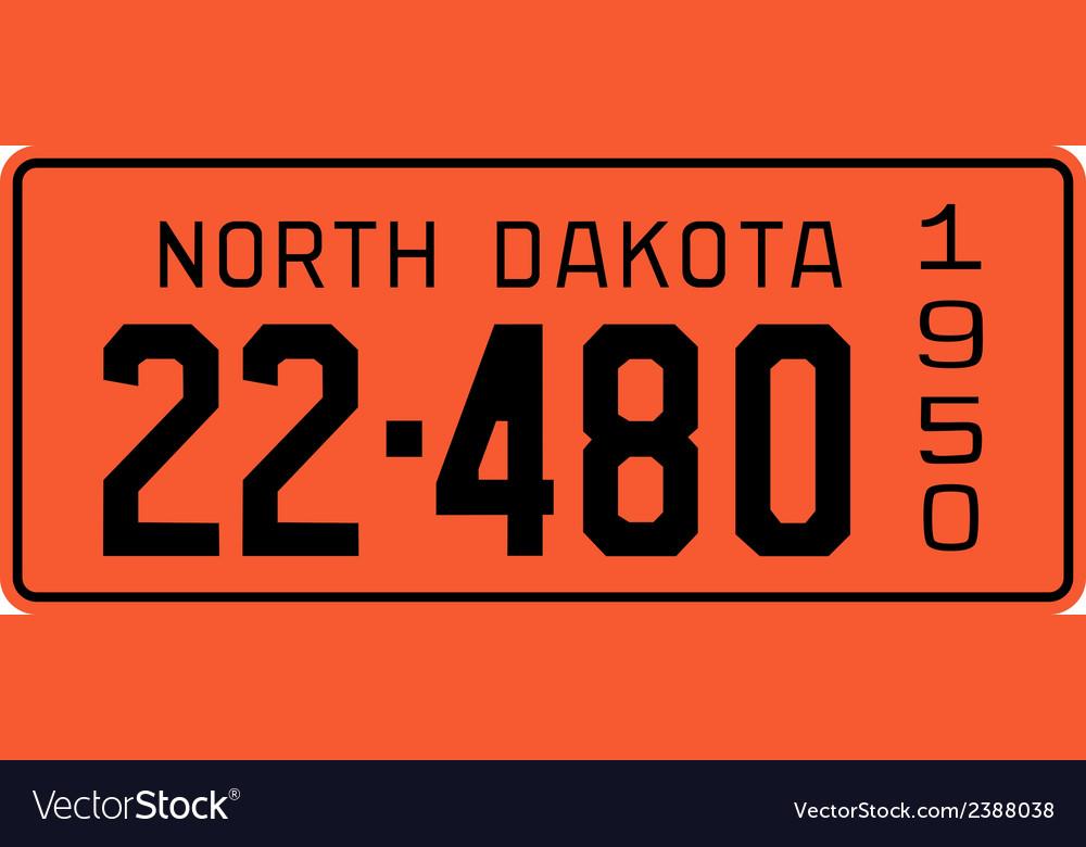 North Dakota 1950 license plate vector image