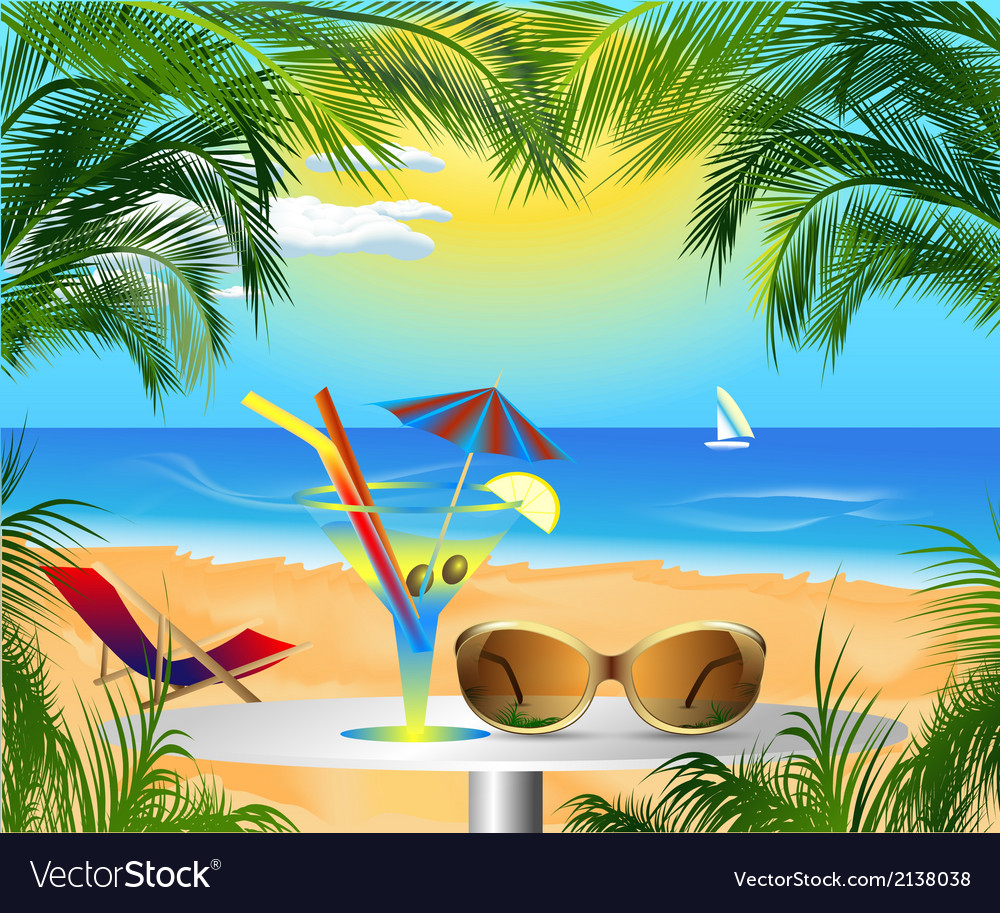 Summer card with sea view vector image