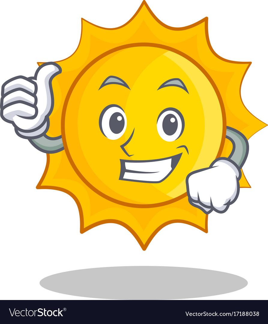 Thumbs up cute. Sun character cartoon