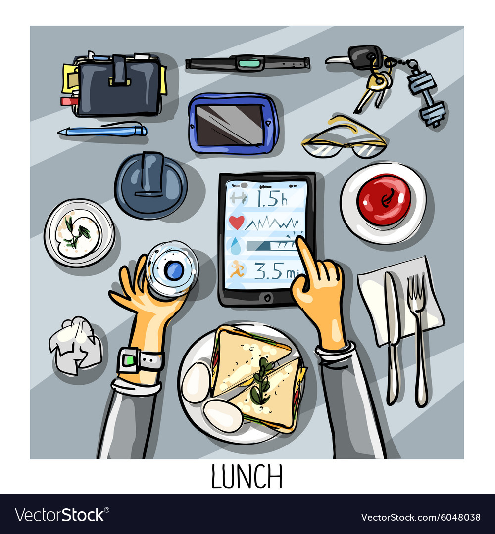 Top view background - person having lunch vector image
