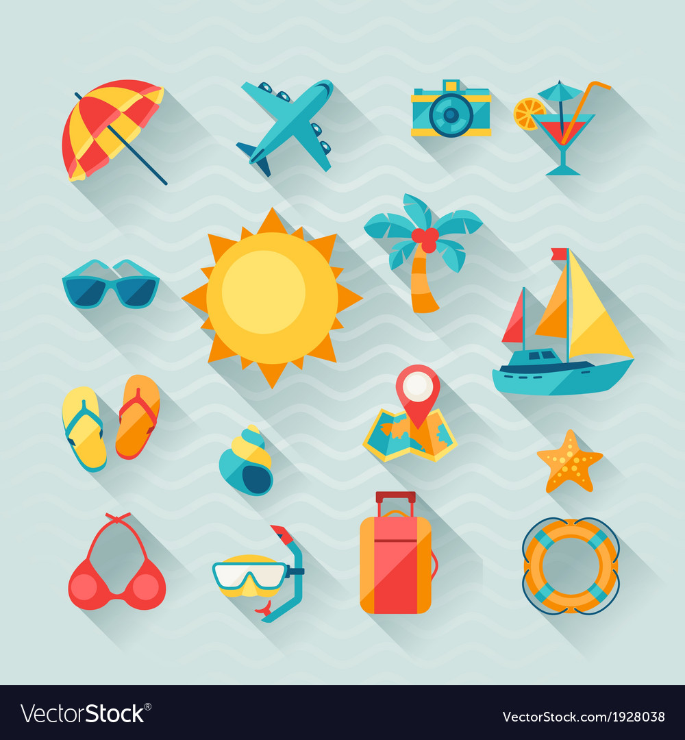 Travel and tourism icon set in flat design style