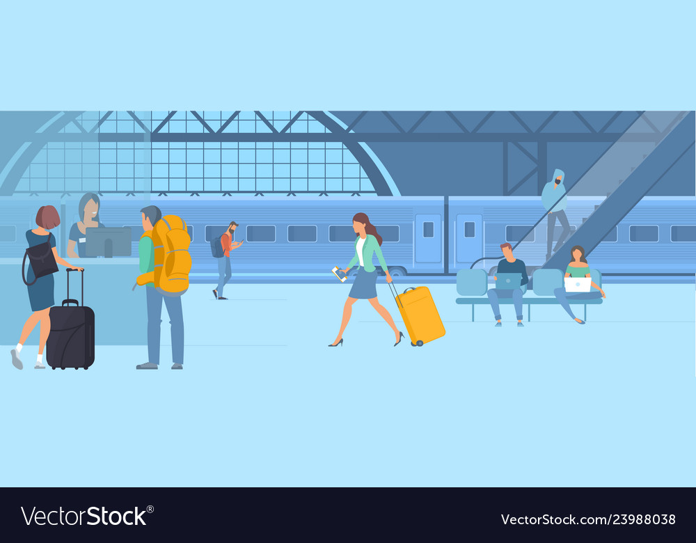 Travellers at railway station