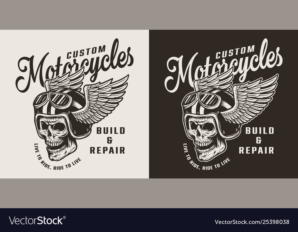 Vintage custom motorcycle shop emblem