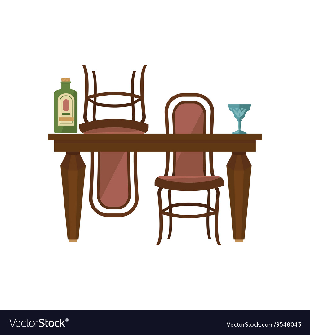 Antique Wooden Chairs >> Antique Wooden Dining Table And Chairs Royalty Free Vector