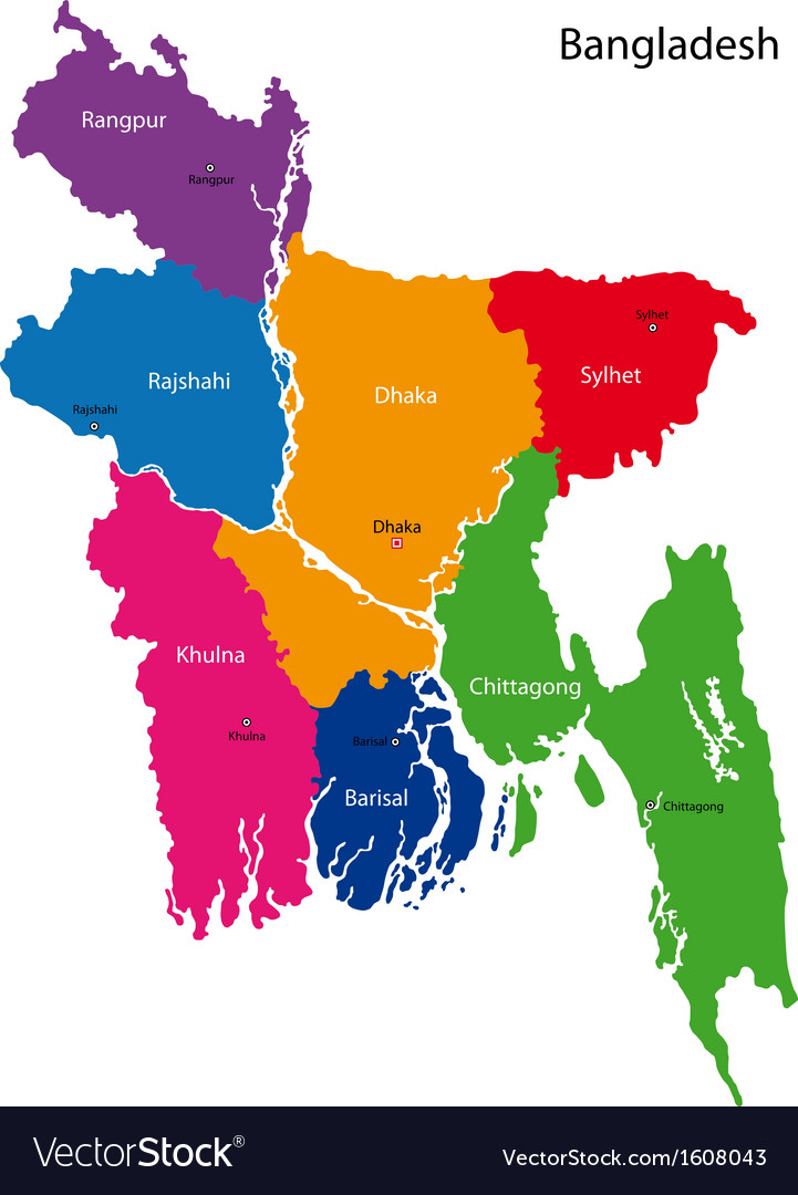 Bangladesh map Royalty Free Vector Image - VectorStock