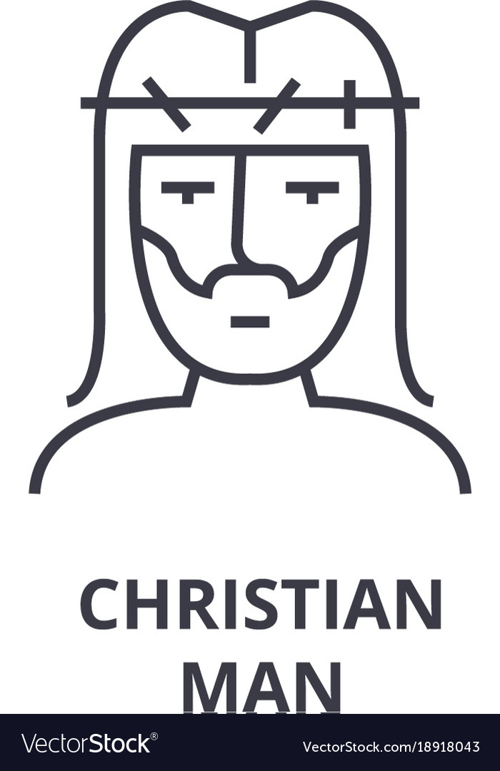 Christian man line icon outline sign linear