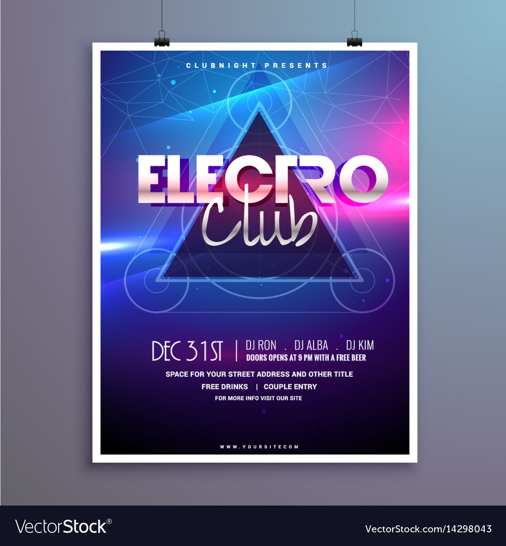 Club music party flyer invitation card with shiny