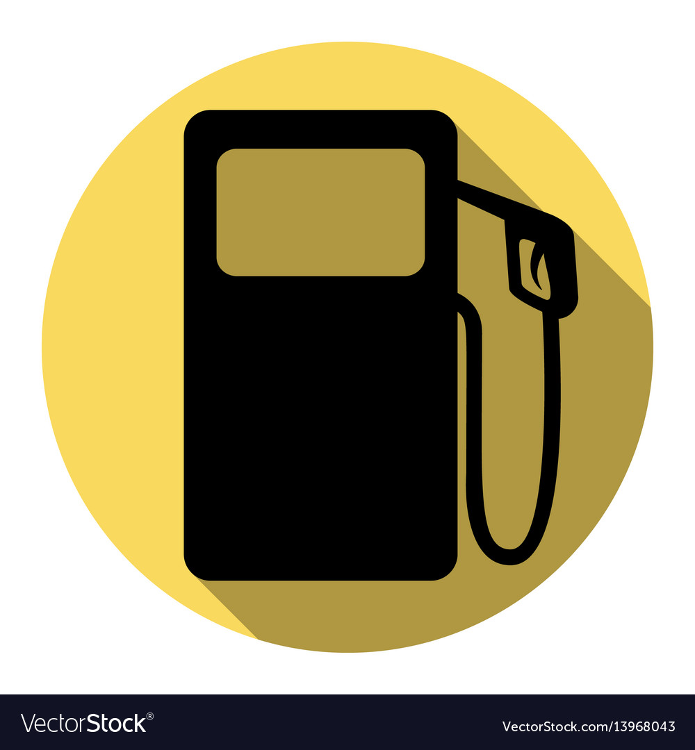 Gas pump sign flat black icon with flat