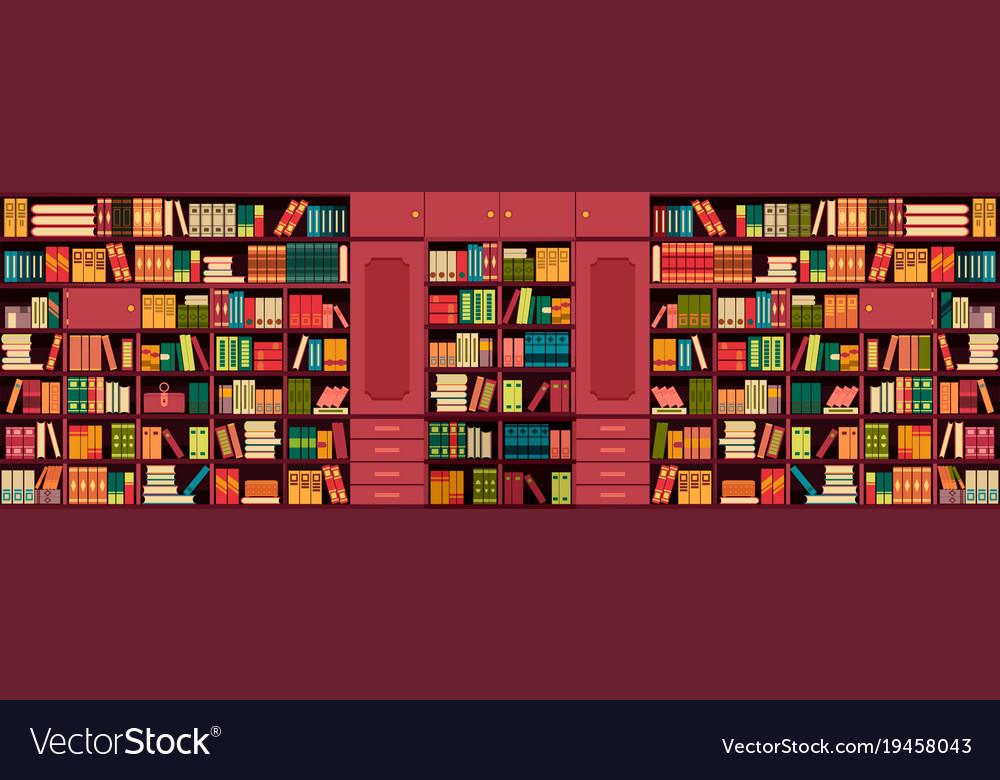 Library bookshelves wall
