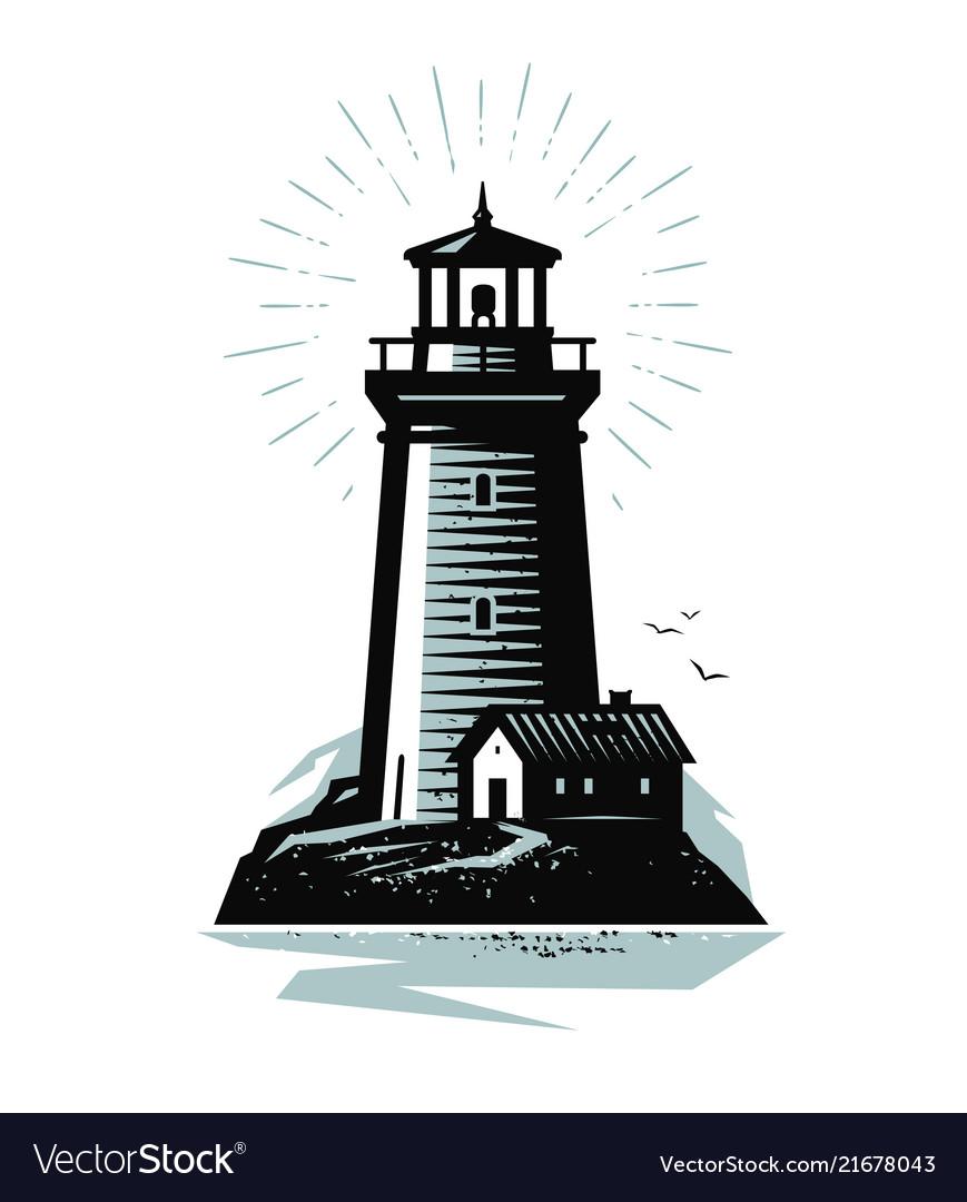 Lighthouse logo or label marine concept