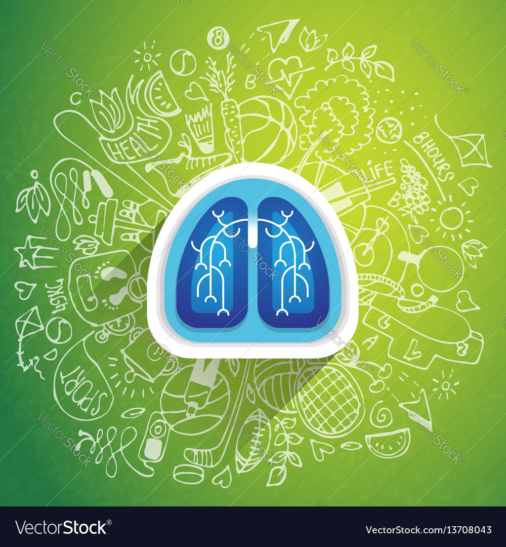 Lungs - halth care sketch with sport