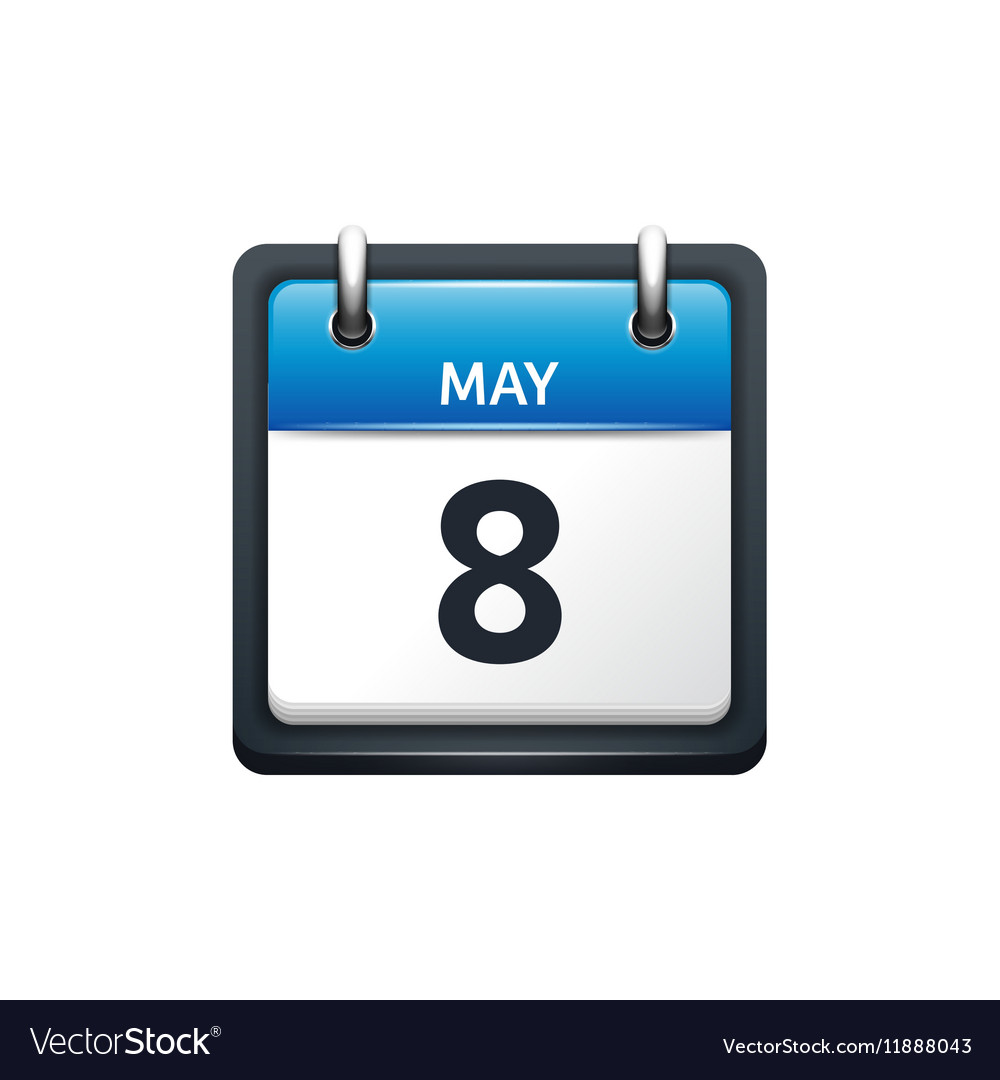 May 8 Calendar icon flat vector image