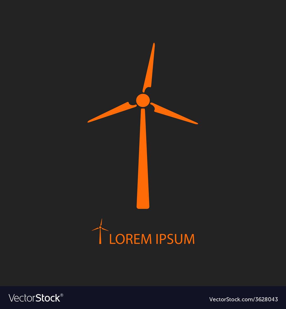 Orange wind turbine on black vector image