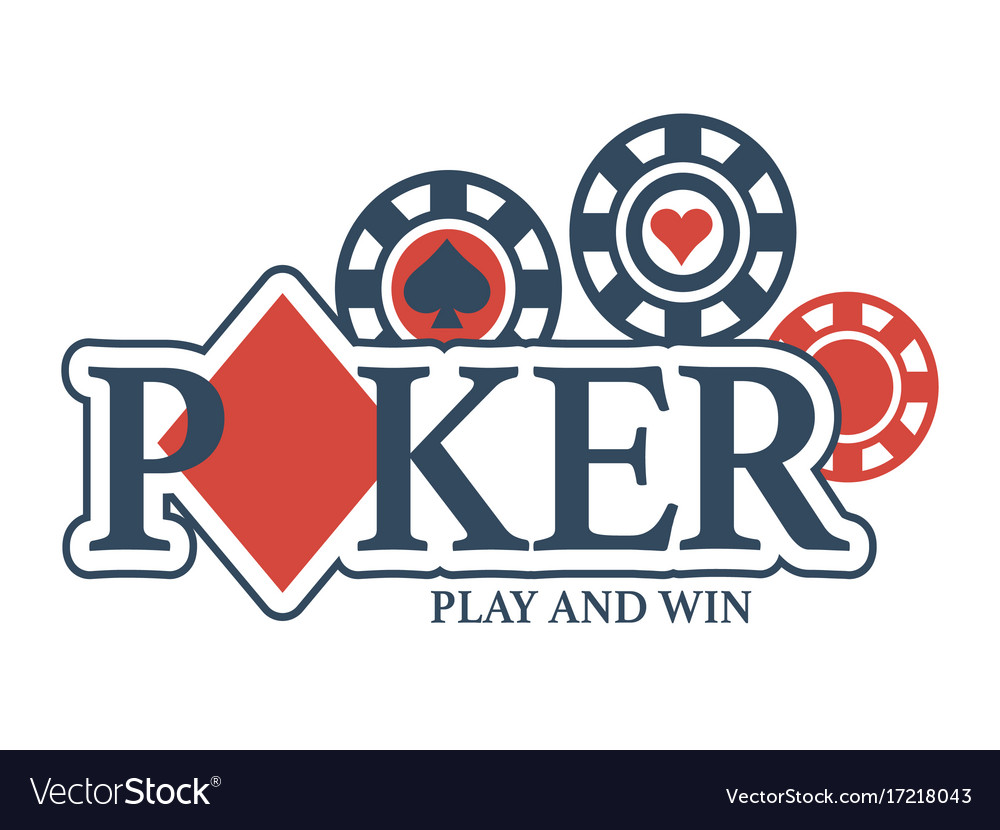 Play and win in poker promotional emblem with vector image
