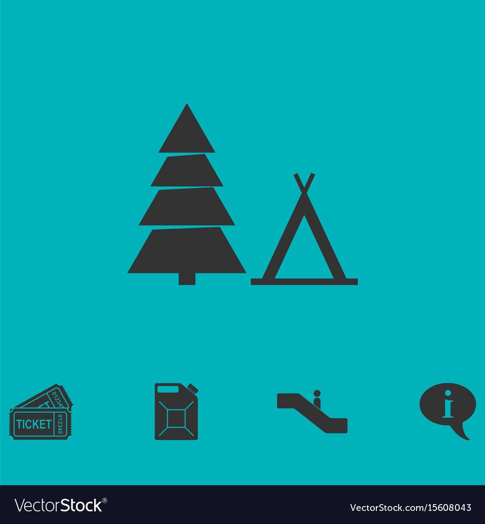 Tourist tent icon flat vector image