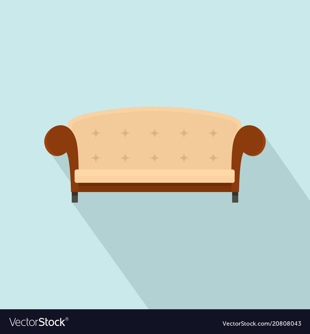 Vintage sofa icon flat style