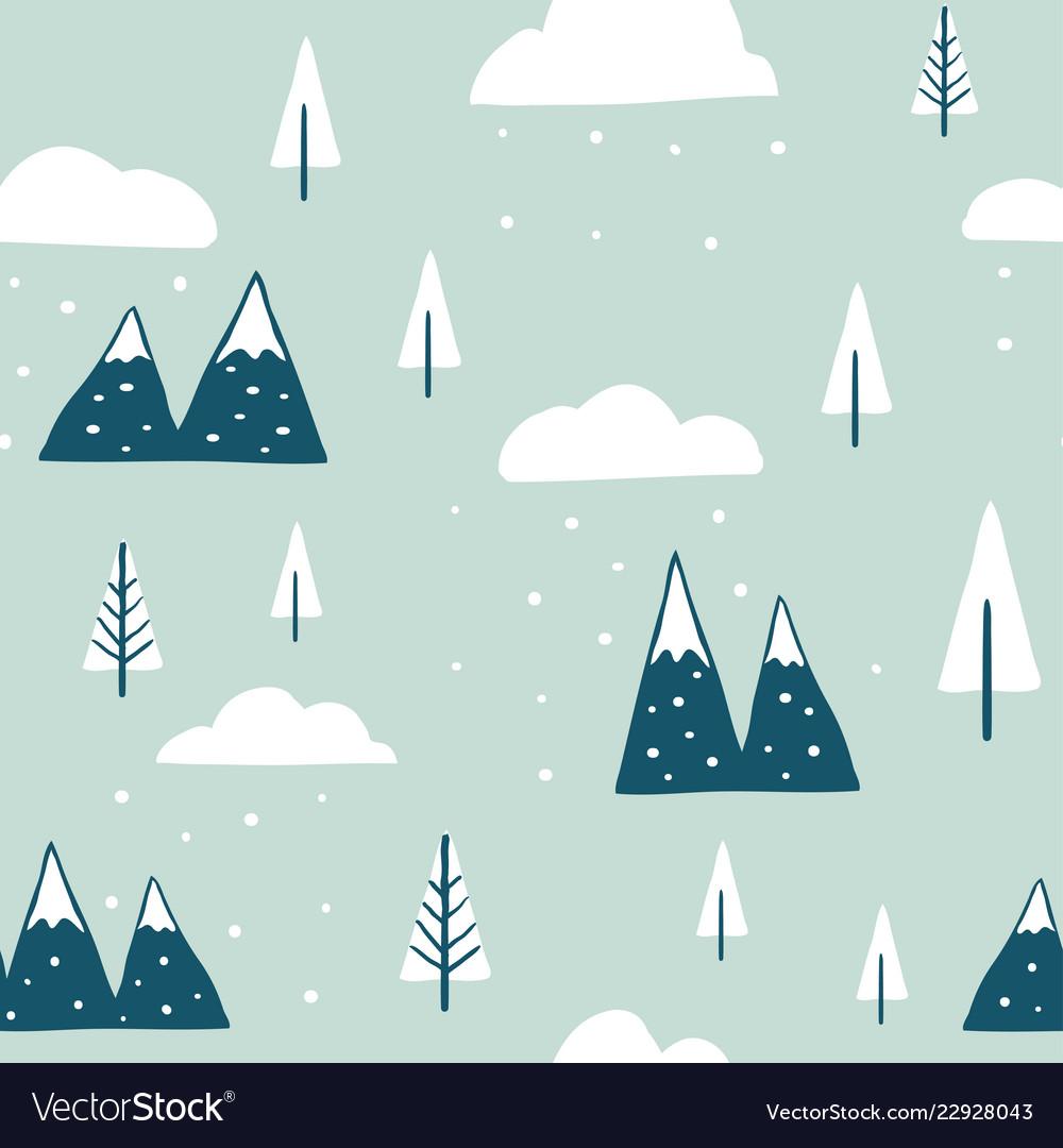 Winter seamless landscape pattern