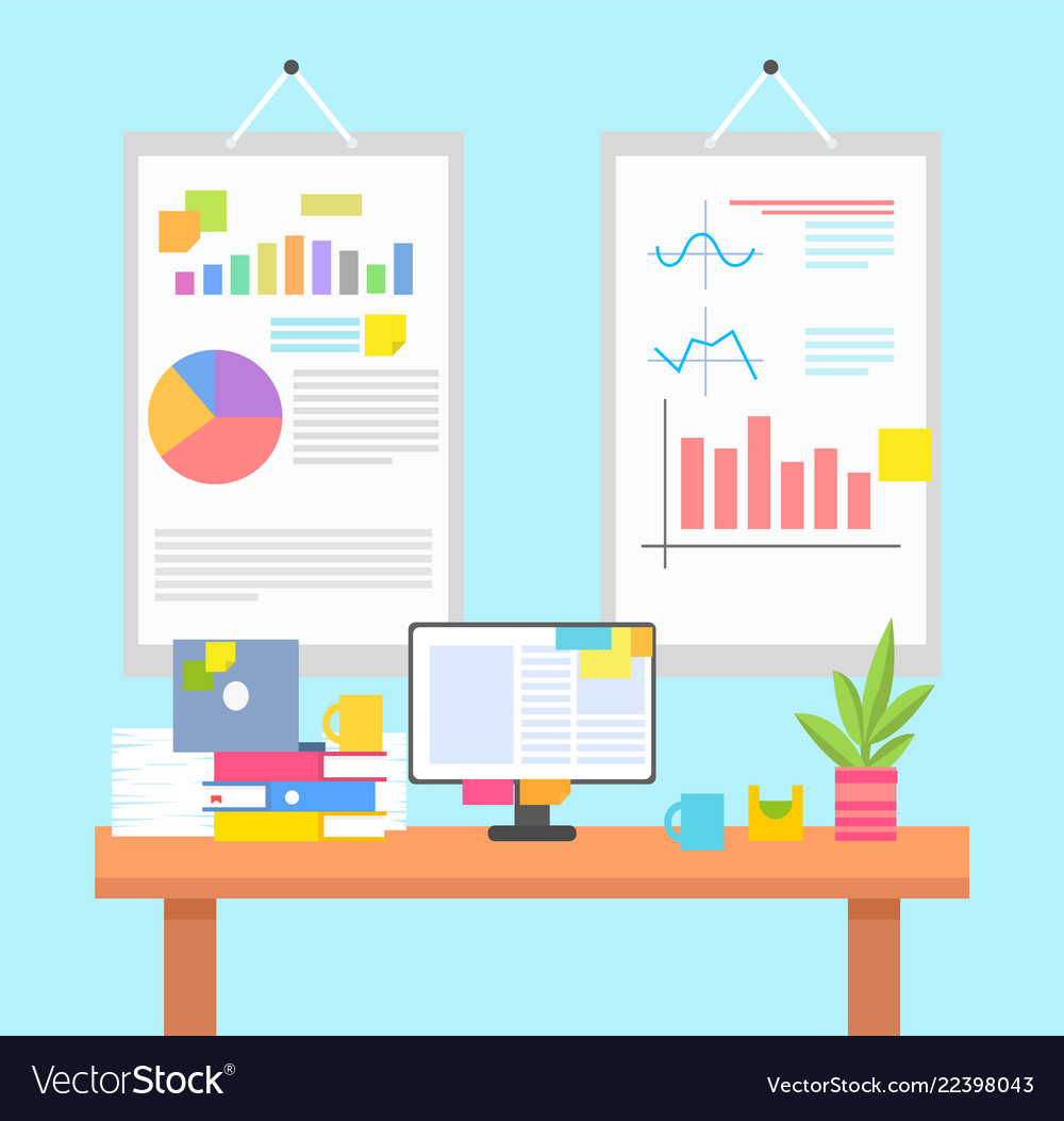 Work environment with graphics or chart on walls