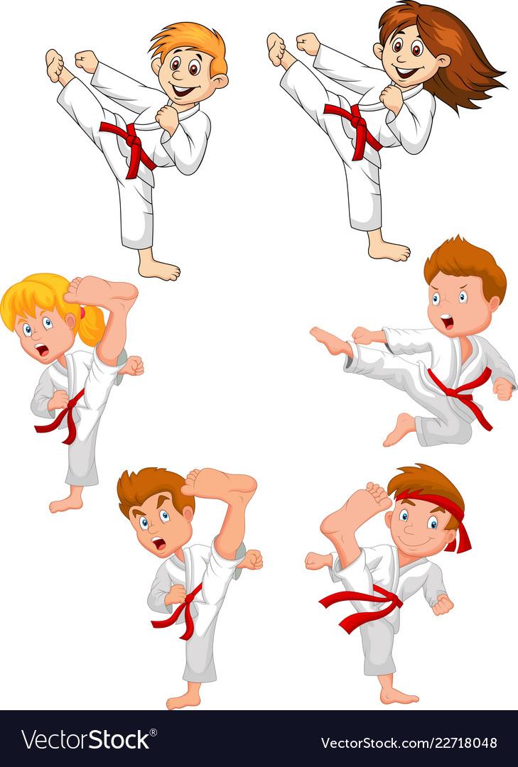 Cartoon little kid training karate collection Vector Image