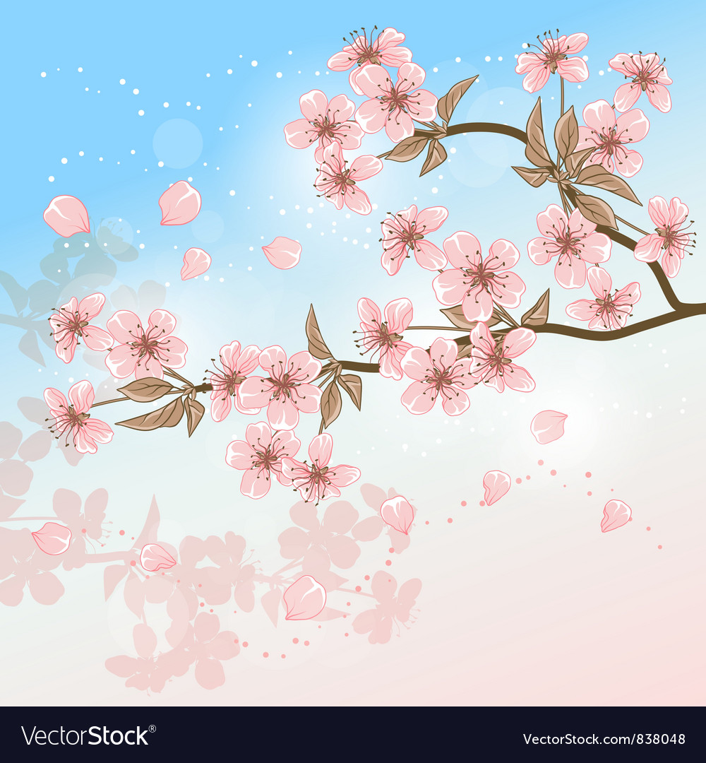 Cherry Tree Card with stylized blossom