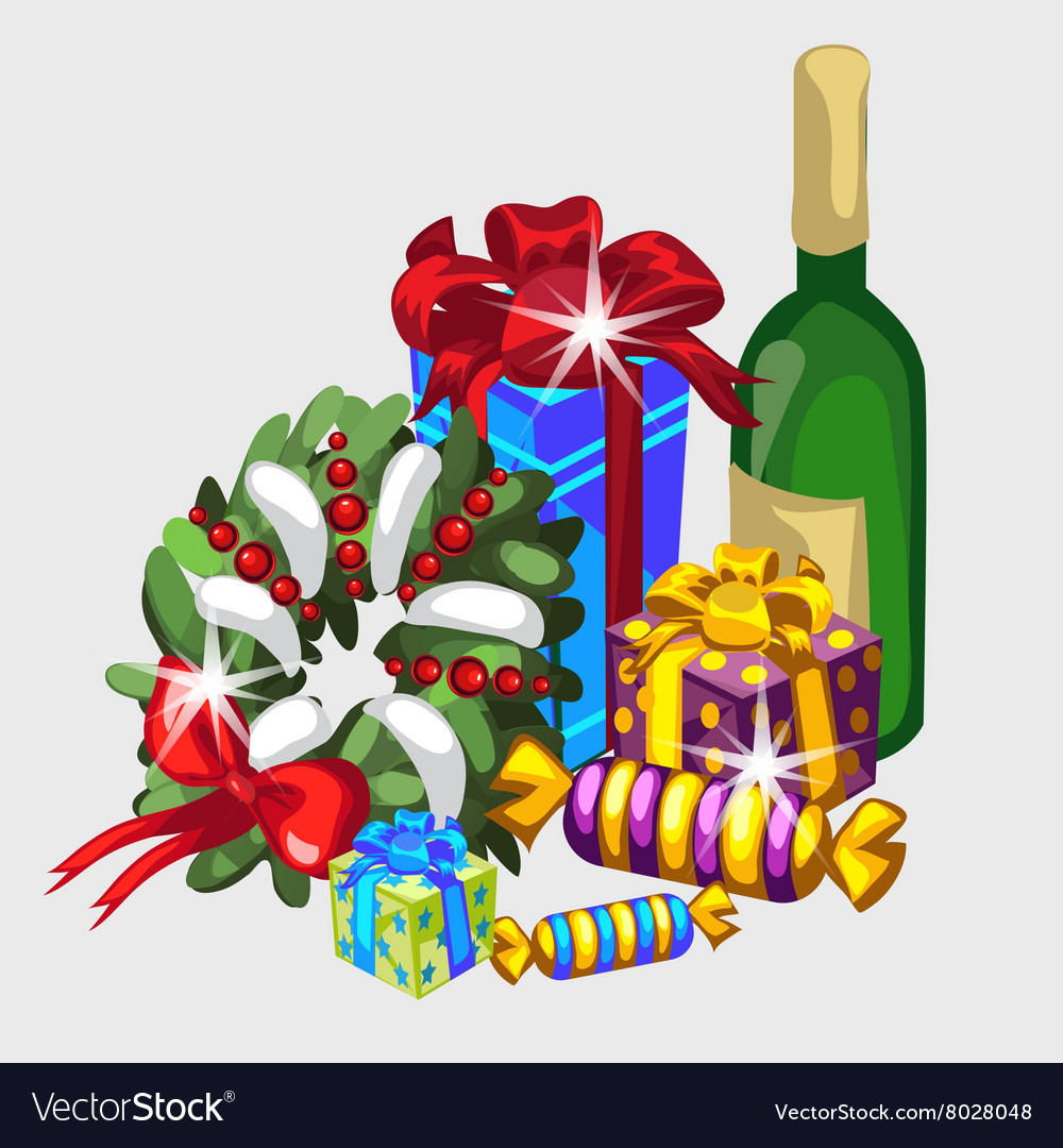 Christmas set wreath gifts and champagne