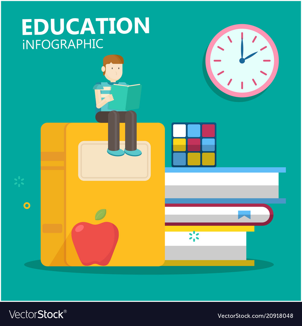 Education infographic young man sit on big book cl