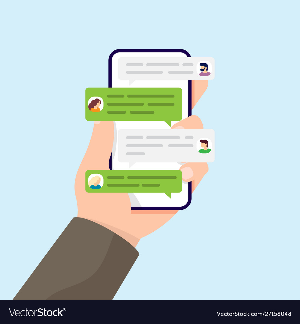 Hand holding phone with messages and group chat