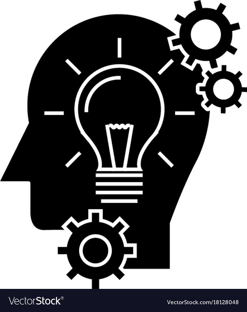 Head with lamp idea generation icon vector image