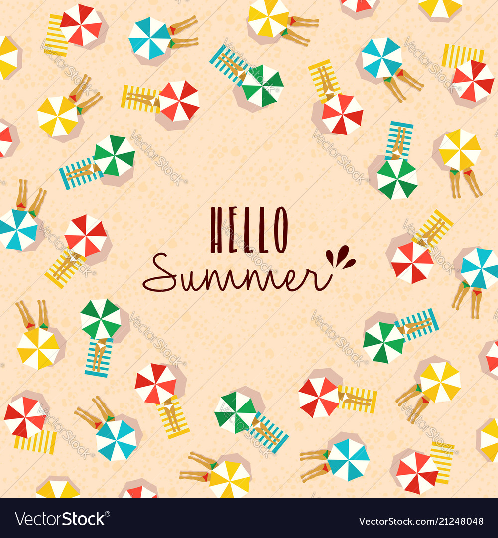 Hello summer card of people on the beach