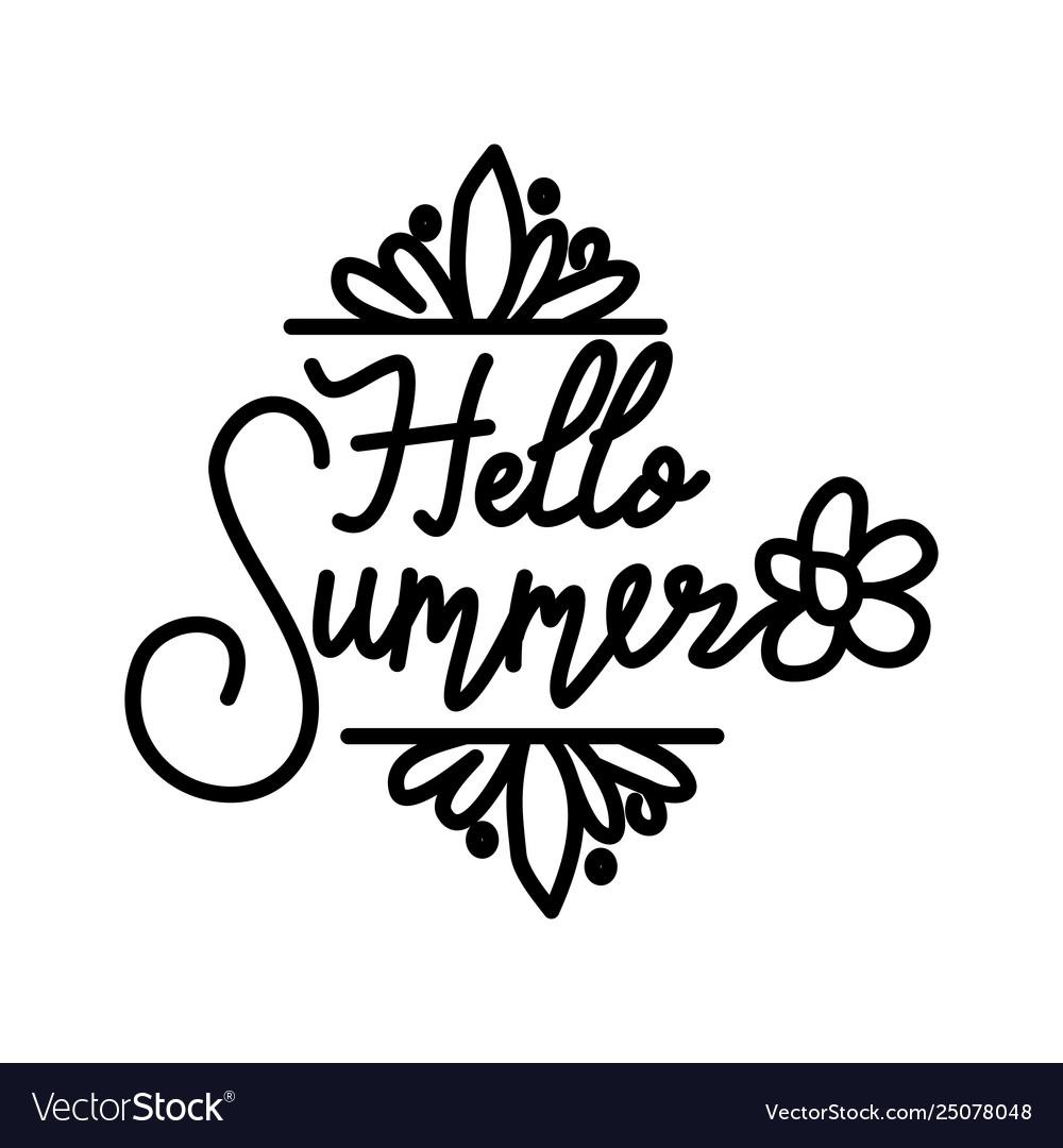 Hello summer script text design template