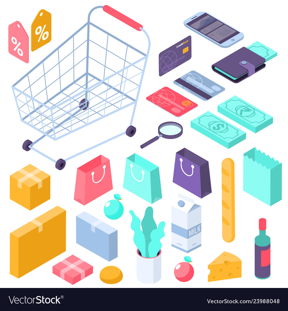 Online mobile shopping isometric interface icons