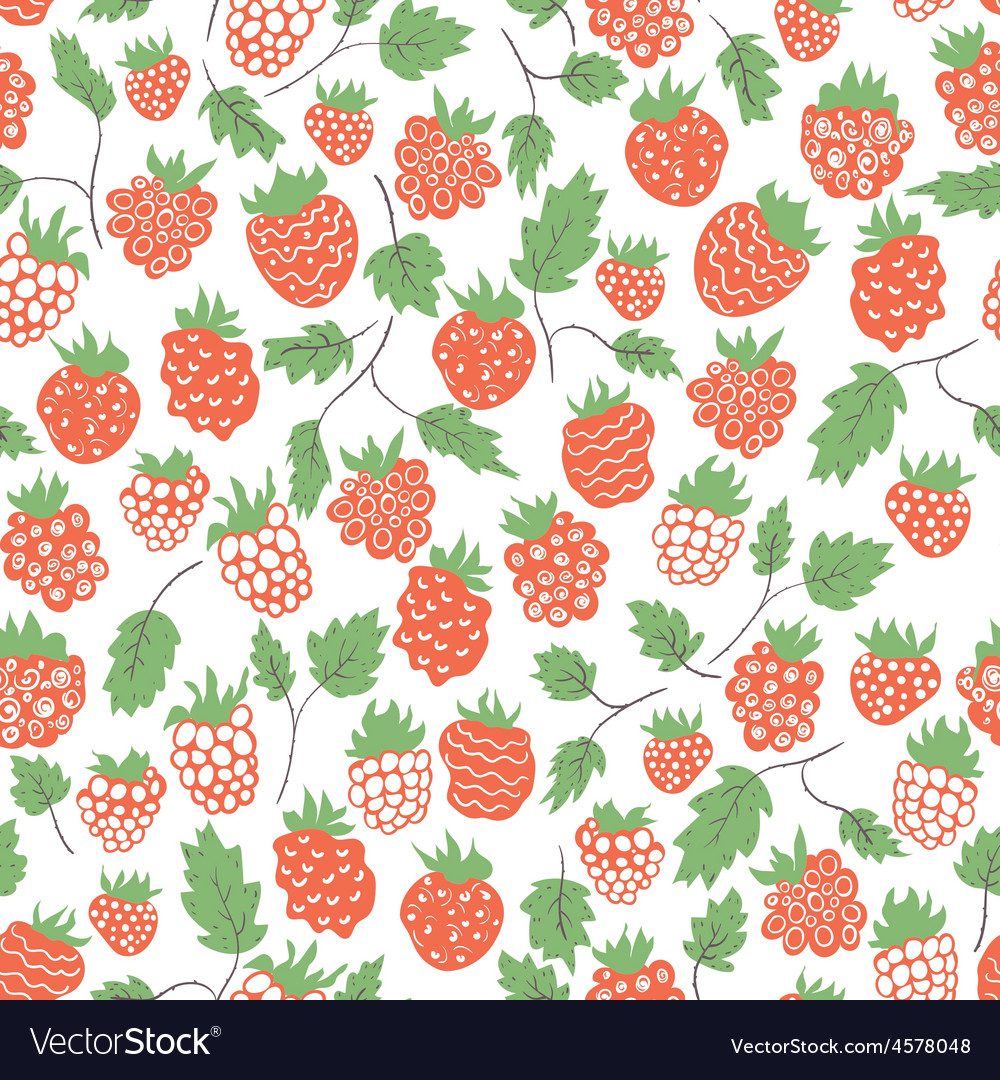 Seamless pattern with raspberries vector image