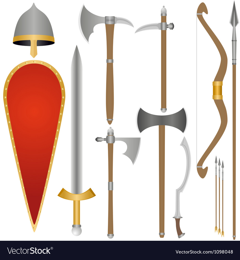 Weapon and armor of Old Russian soldiers vector image