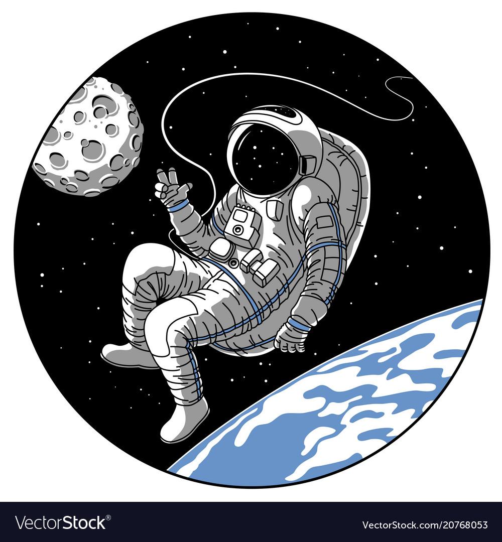Astronaut or cosmonaut in open space sketch
