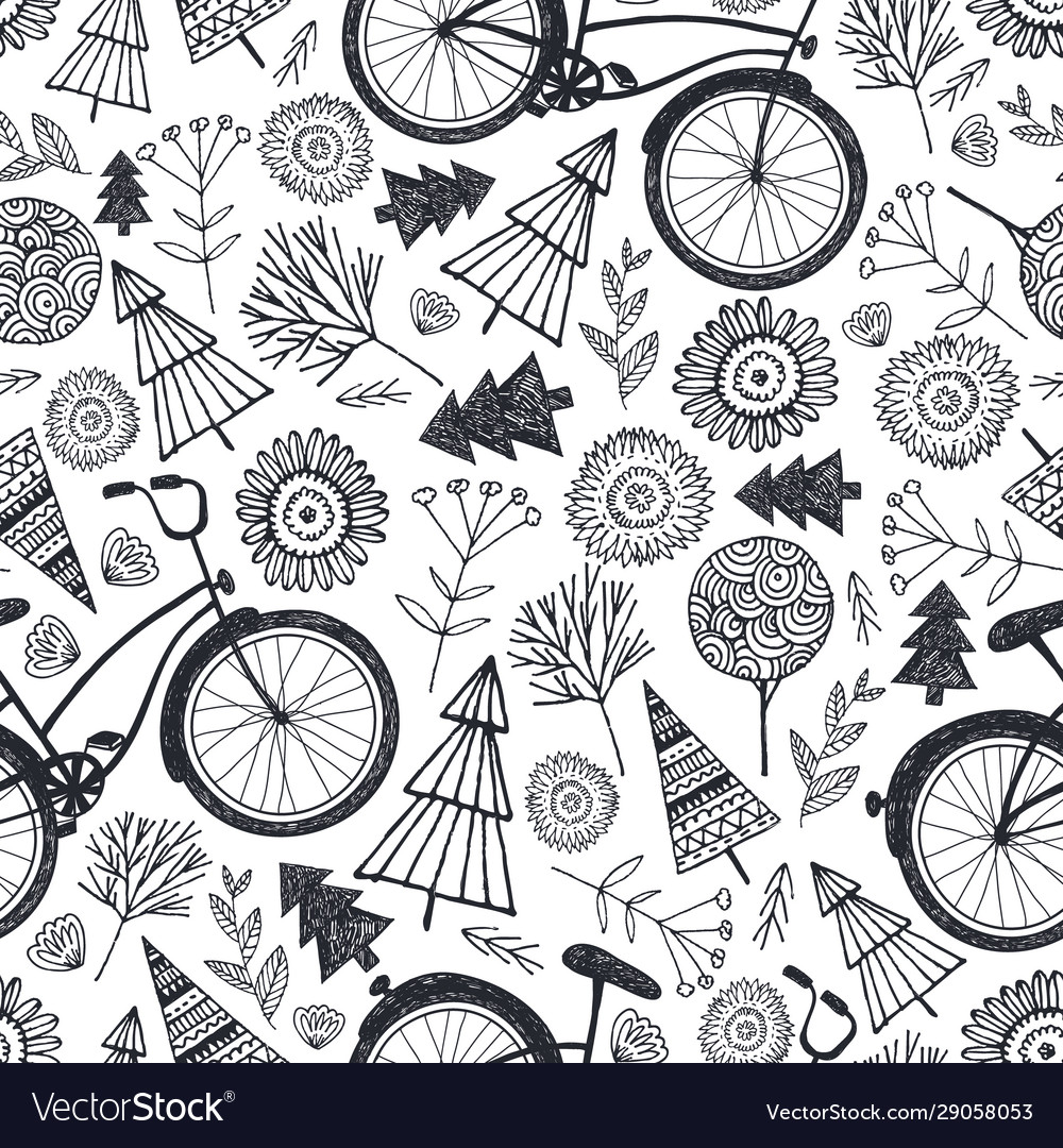 Bicycle seamless pattern with trees