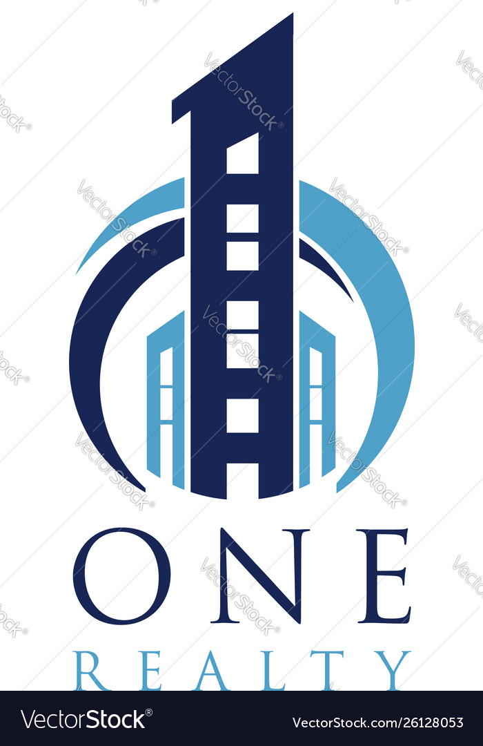 Blue one realty building logo symbol