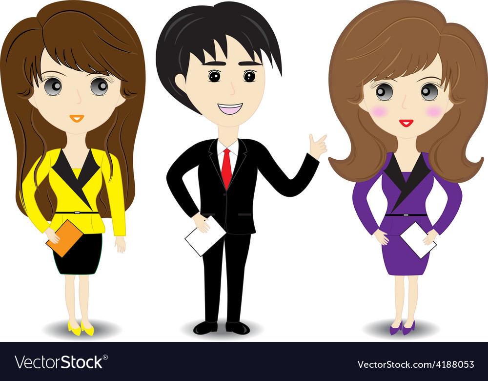 Business man and woman on white background