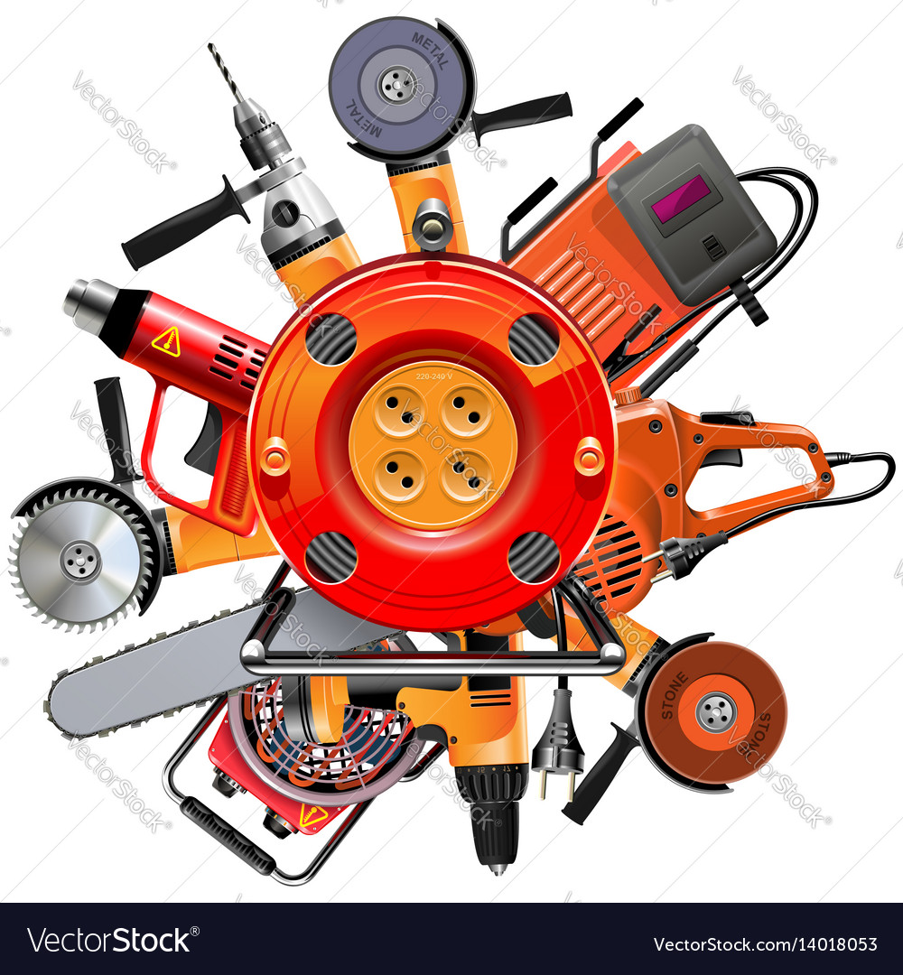 Cable reel with power tools vector image