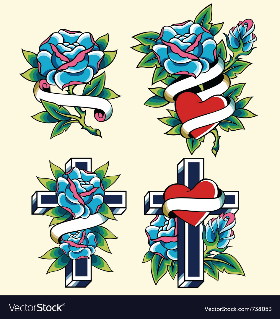 Cross and rose icon set vector image