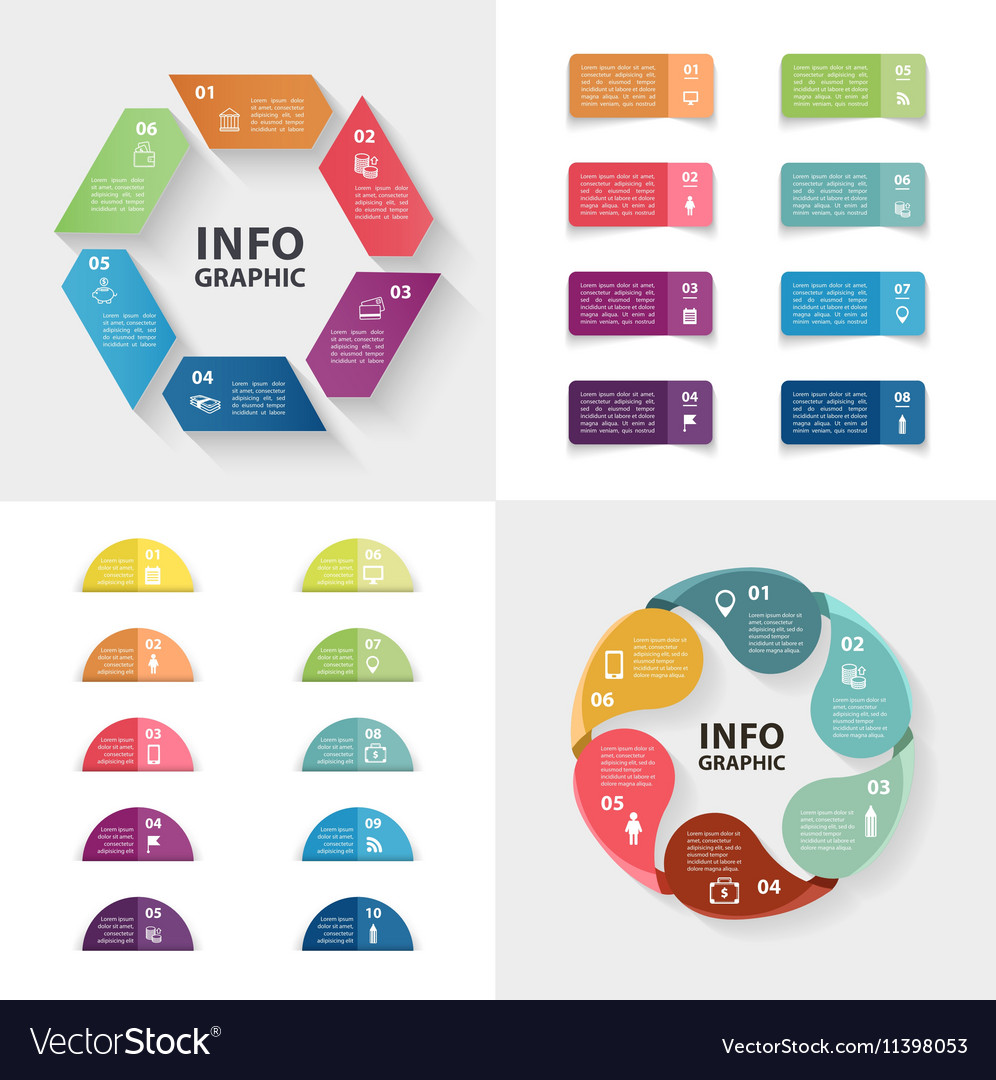 Ector infographics set Collection of colorful