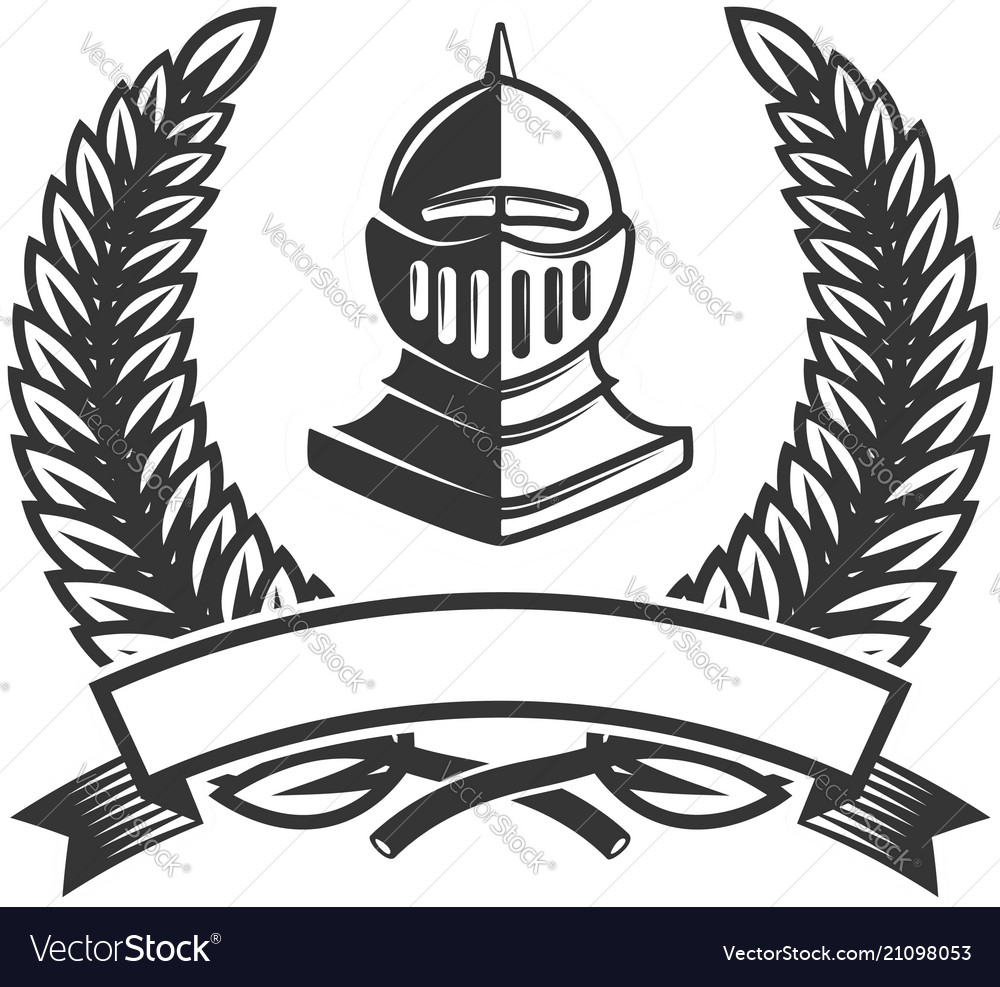 emblem template with medieval knight helmet vector image