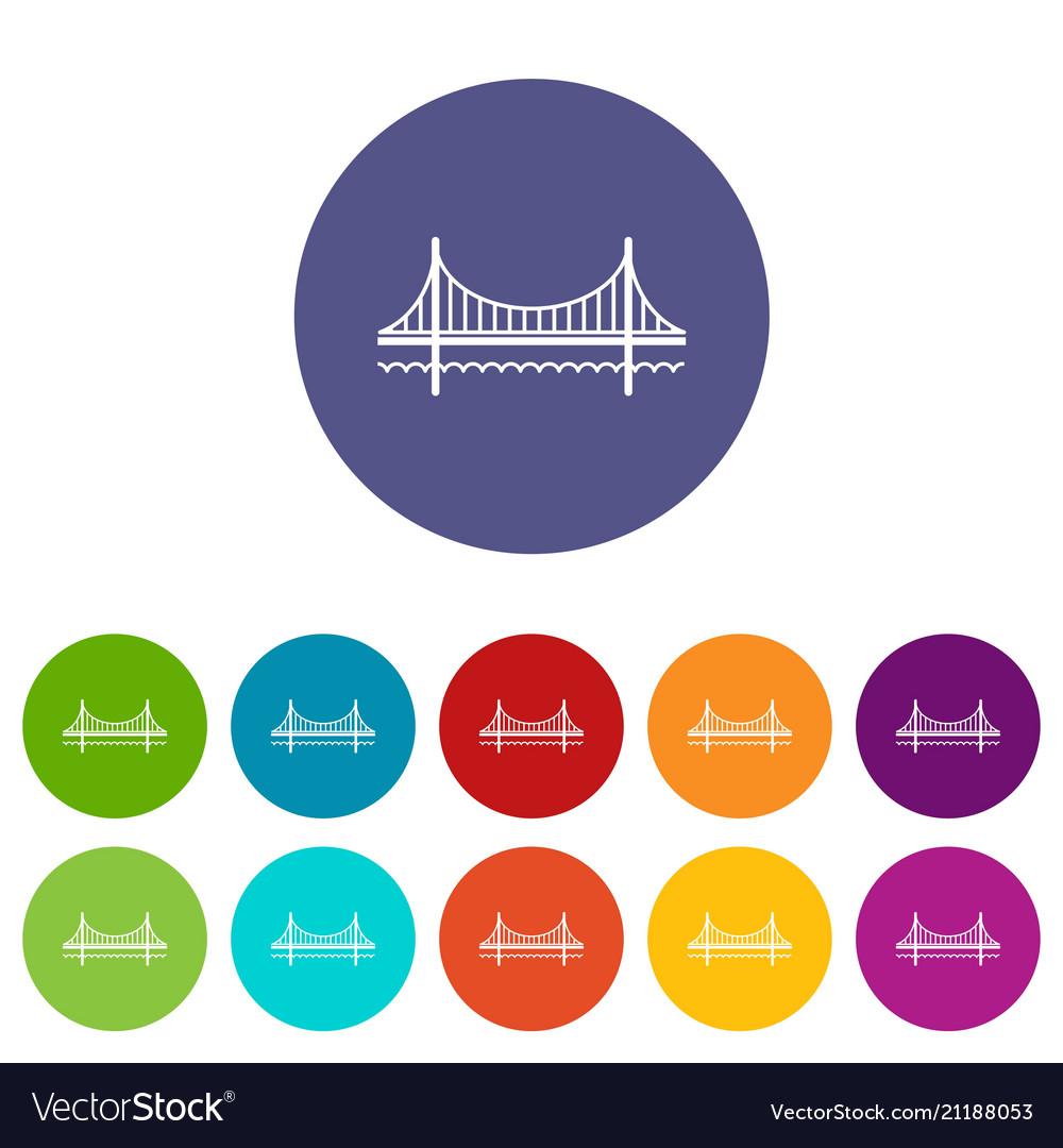 Golden gate bridge icons set color
