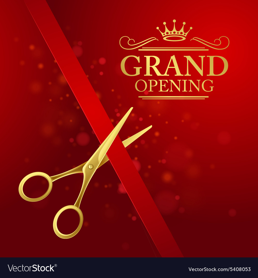 Grand opening with red ribbon and